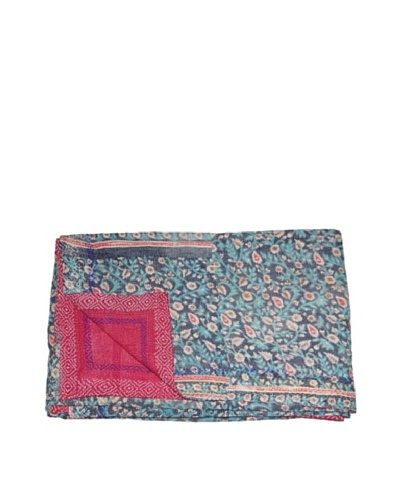 "Large Vintage Aakaanksha Kantha Throw, Multi, 60"" x 90"""