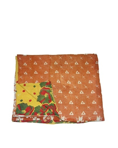 Large Vintage Chanda Kantha Throw, Multi, 60″ x 90″
