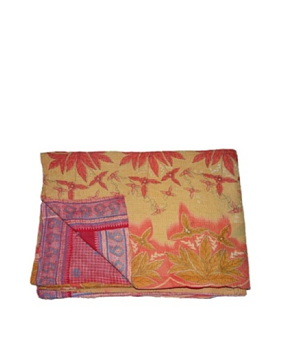 Large Vintage Aakaanksha Kantha Throw, Multi, 60″ x 90″