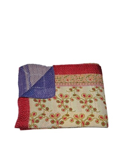 Large Vintage Preeti Kantha Throw, Multi, 60″ x 90″