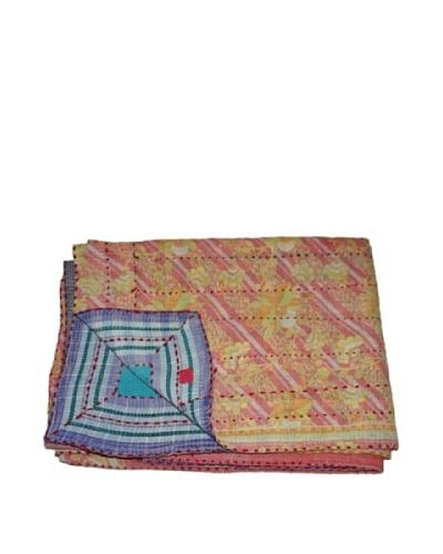 "Large Vintage Preeti Kantha Throw, Multi, 60"" x 90"""