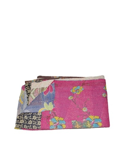 Large Vintage Kanti Kantha Throw, Multi, 60″ x 90″