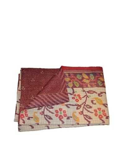 Large Vintage Lavanya Kantha Throw, Multi, 60″ x 90″