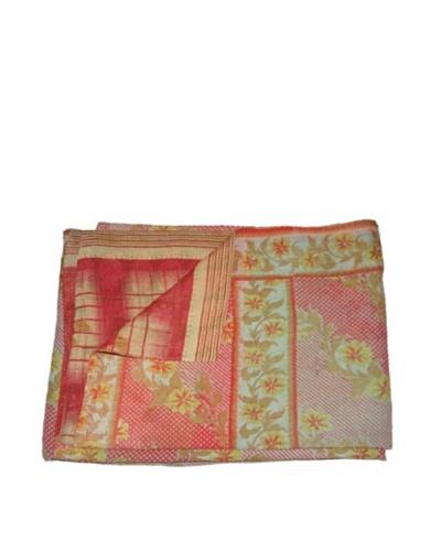 Large Vintage Kanti Kantha Throw, Multi, 60 x 90