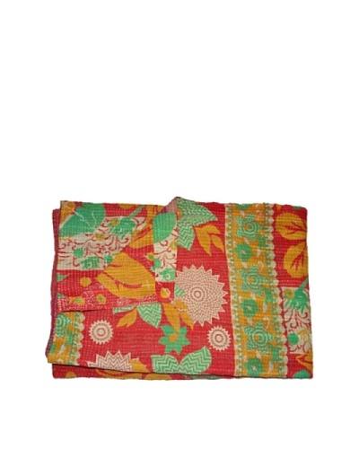 Large Vintage Aakaanksha Kantha Throw, Multi, 60″ x 90″