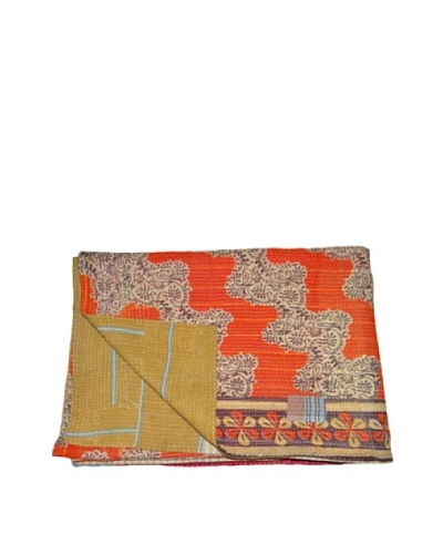 Large Vintage Chanda Kantha Throw, Multi, 60 x 90
