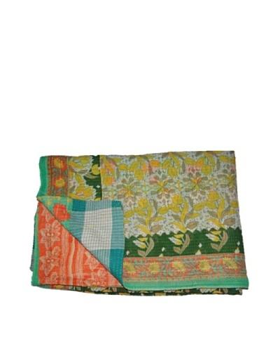 Large Vintage Chanda Kantha Throw, Multi, 60″ x 90″
