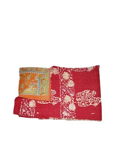 Large Vintage Hema Kantha Throw, Multi, 60″ x 90″