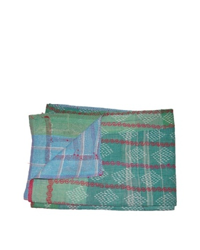Large Vintage Kanti Kantha Throw, Multi, 60 x 90