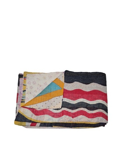 Large Vintage Pushpa Kantha Throw, Multi, 60″ x 90″