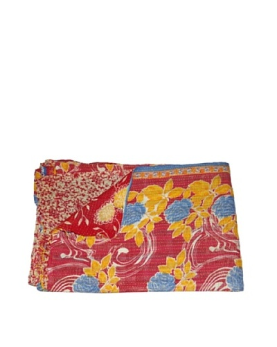 Large Vintage Gowri Kantha Throw, Multi, 60″ x 90″
