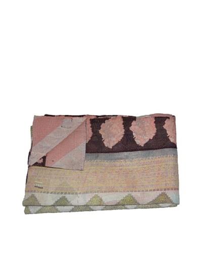 Large Vintage Karishma Kantha Throw, Multi, 60″ x 90″