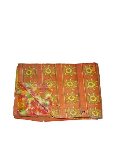 """Large Vintage Chanda Kantha Throw, Multi, 60"""" x 90"""""""