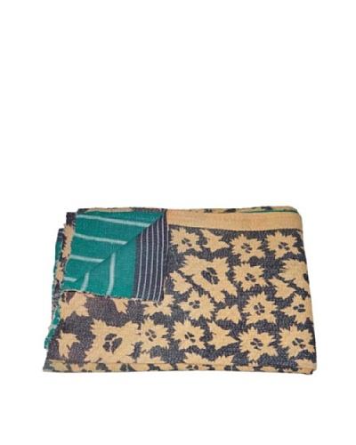 Large Vintage Kanti Kantha Throw, Multi, 60″ x 90″