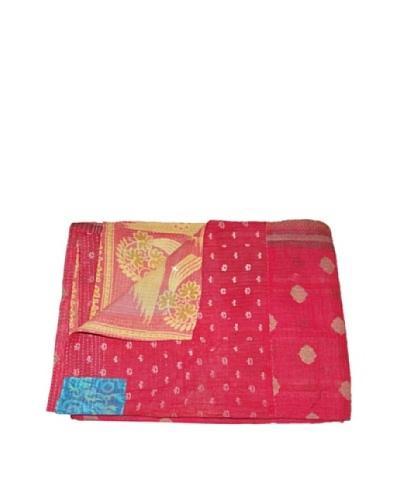 Large Vintage Pushpa Kantha Throw, Multi, 60″ x 90″