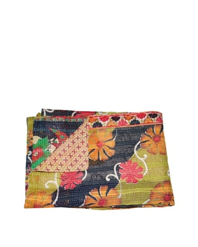 Large Vintage Lalima Kantha Throw, Multi, 60 x 90