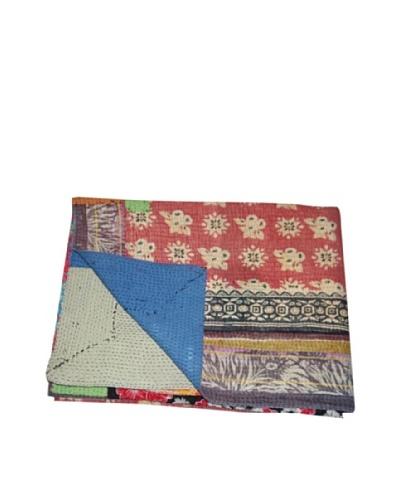 Large Vintage Lalima Kantha Throw, Multi, 60″ x 90″
