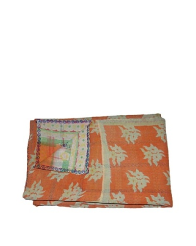 Large Vintage Karishma Kantha Throw, Multi, 60 x 90