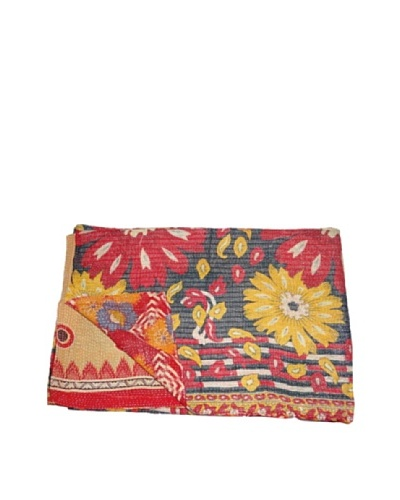 Large Vintage Navneet Kantha Throw, Multi, 60″ x 90″