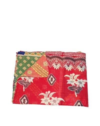 Large Vintage Navneet Kantha Throw, Multi, 60″ x 90″