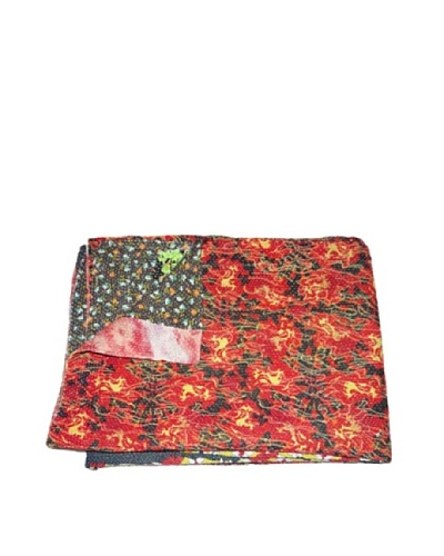 Large Vintage Lalima Kantha Throw, Multi, 60″ x 90″