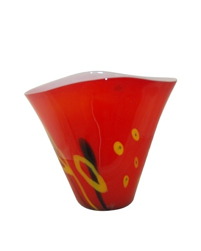 Viz Art Glass Hand Blown Vase, Red/Yellow/Black