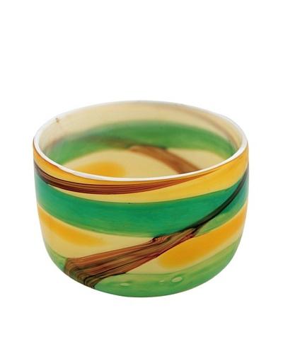 Viz Art Glass Hand Blown Art Glass Bowl, Amber/Green/Brown