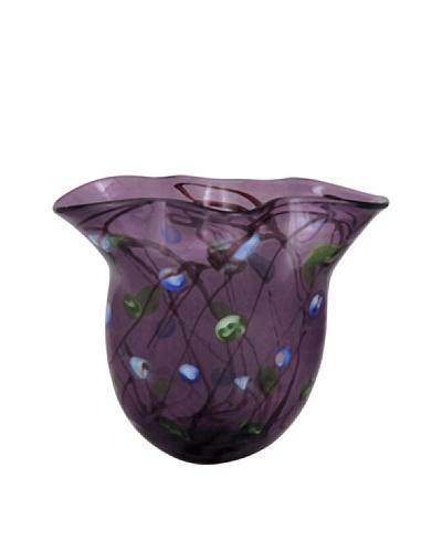 Viz Art Glass Hand Blown Vase, Purple/Green/Multi