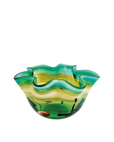 Viz Art Glass Hand Blown Ruffled Candle Holder, Green/Amber/Multi