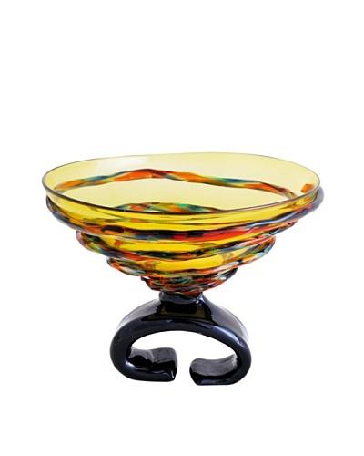 Viz Art Glass Hand Blown Pedestal Bowl, Amber/Multi