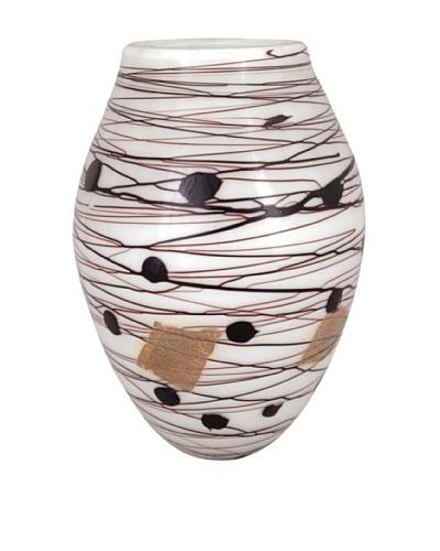 Viz Art Glass Hand Blown Vase, White/Black/Amber