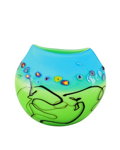 Viz Art Glass Hand Blown Vase, Green/Aqua/Multi