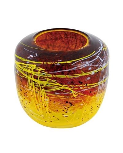 Viz Art Glass Hand Blown Vase, Yellow/Brick/Multi