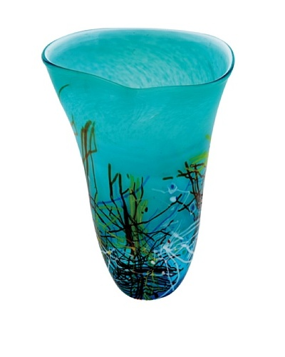 Viz Art Glass Hand Blown Vase, Aqua/Multi