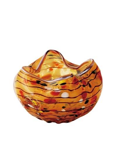 Viz Art Glass Hand Blown Ruffled Candle Holder, Amber/Multi