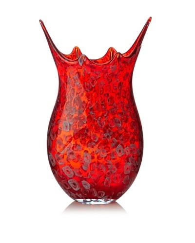 Viz Art Glass Hand Blown Vase, Red/Multi