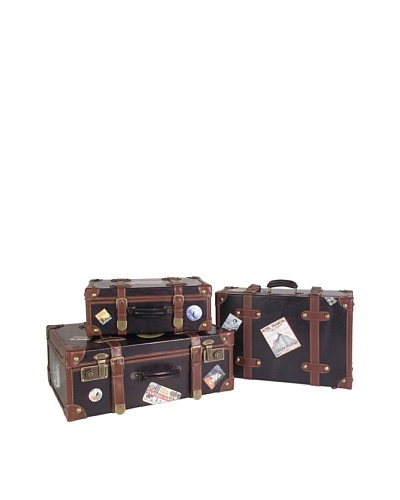 Voyager Set of 3 Faux-Leather Labeled SuitcasesAs You See