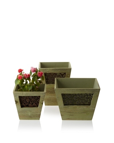 Wald Imports Set of 3 Vintage-Look Wooden Planters with Floral Metal Plate, Fresh Green