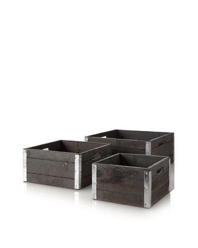 Wald Imports Set of 3 Wood Crates with Galvanized Metal Trim, Gray