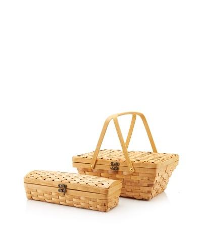 Wald Imports Wood Chip Picnic Basket and Wine Holder Set