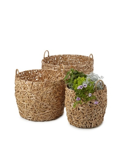 Wald Imports Set of 3 Oversized Round Random-Weave Seagrass Baskets/Planters [Natural]