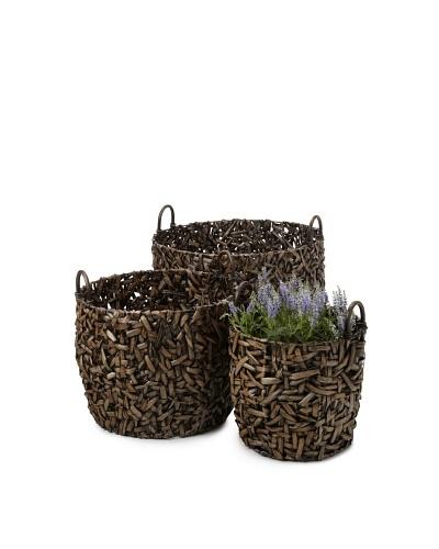 Wald Imports Set of 3 Oversized Round Random-Weave Seagrass Baskets/Planters [Espresso]