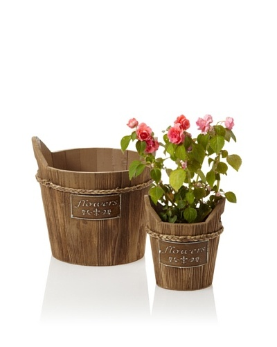 Wald Imports Set of 2 Vintage-Look Wooden Planters with Metal Plate [Mocha Brown]