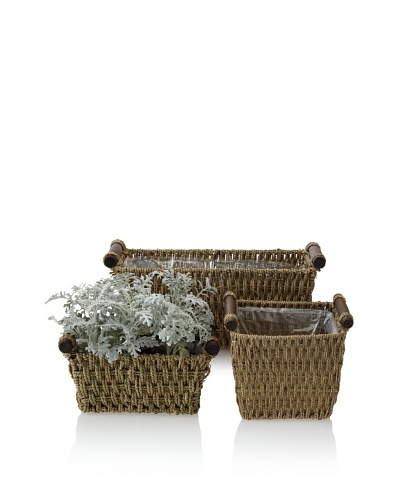 Wald Imports Set of 3 Square Rope Pot Covers, Natural
