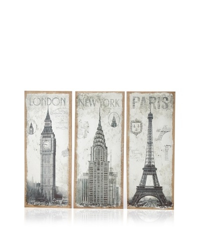 Firefly Home Collection Set of 3 Wooden Wall Décor Pieces: Paris, London & NY