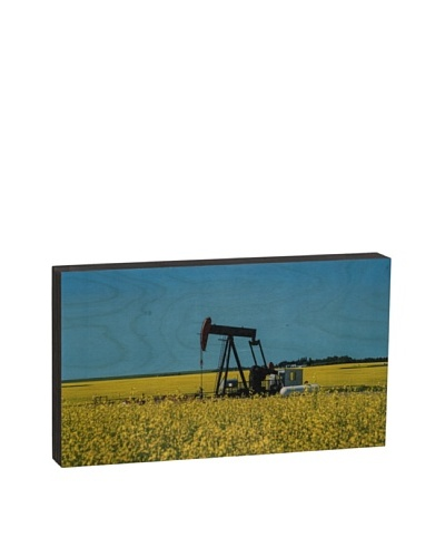 "Walnut Hollow ""Oil Pump in Field"" Wooden Shadowbox Plaque"