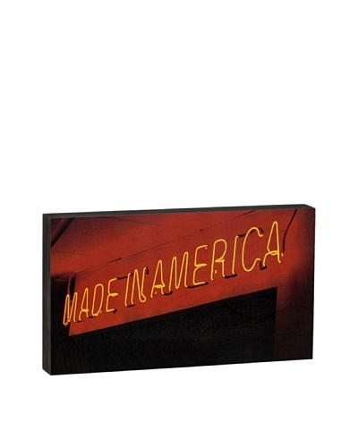 Walnut Hollow Made in America Neon Sign Wooden Shadowbox Plaque