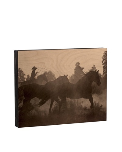 Walnut Hollow Catching the Herd Wooden Shadowbox Plaque