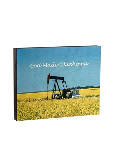 Walnut Hollow Pump Jack/God Made Oklahoma Wooden Shadowbox Plaque