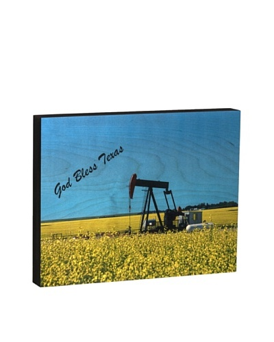Walnut Hollow Pump Jack/God Bless Texas Wooden Shadowbox Plaque